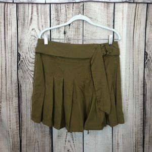 Free People Pleated Faux Suede Skater Skirt XS